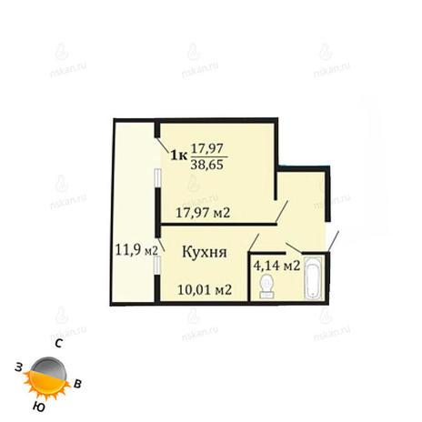 Вариант №1066, 1-комнатная квартира в жилом комплексе Грани
