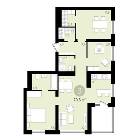 Вариант №3446, 4-комнатная квартира в жилом комплексе Европейский Берег