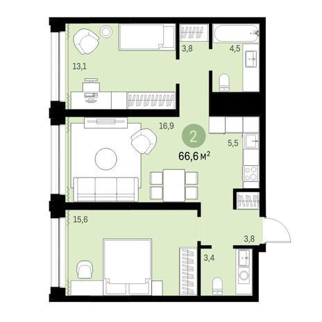 Вариант №6133, 3-комнатная квартира в жилом комплексе