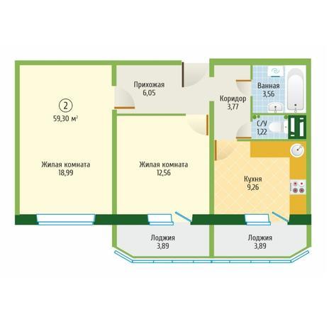 Вариант №6094, 2-комнатная квартира в жилом комплексе