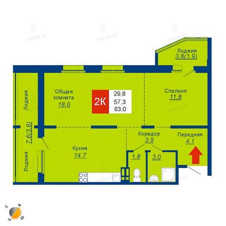 Вариант №2534, 3-комнатная квартира в жилом комплексе Революция