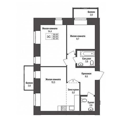 Вариант №3146, 3-комнатная квартира в жилом комплексе