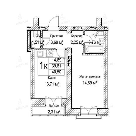 Вариант №1048, 1-комнатная квартира в жилом комплексе Потанинская 2