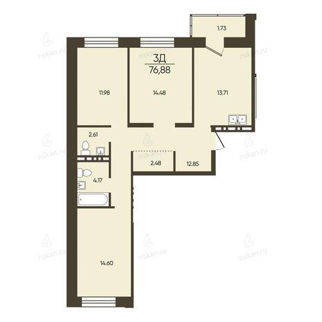 Вариант №2583, 3-комнатная квартира в жилом комплексе