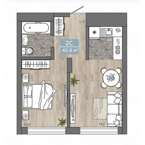 Вариант №4538, 2-комнатная квартира в жилом комплексе