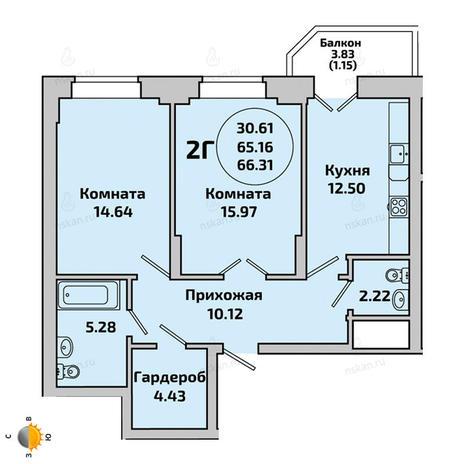 Вариант №1960, 2-комнатная квартира в жилом комплексе Приозерный