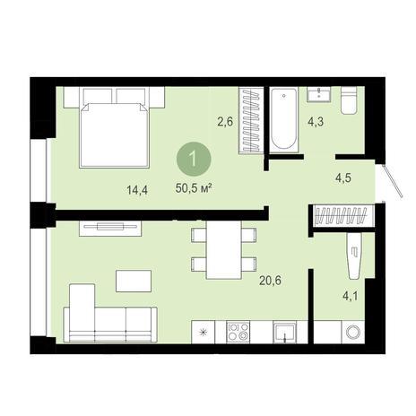 Вариант №4035, 2-комнатная квартира в жилом комплексе