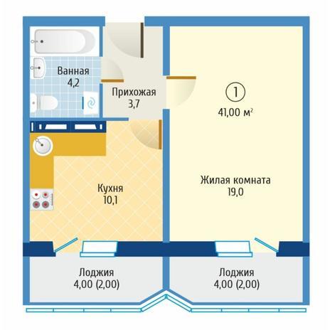 Вариант №6085, 1-комнатная квартира в жилом комплексе
