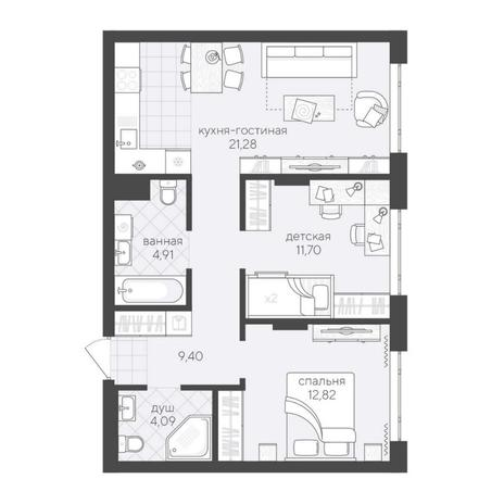 Вариант №6200, 3-комнатная квартира в жилом комплексе