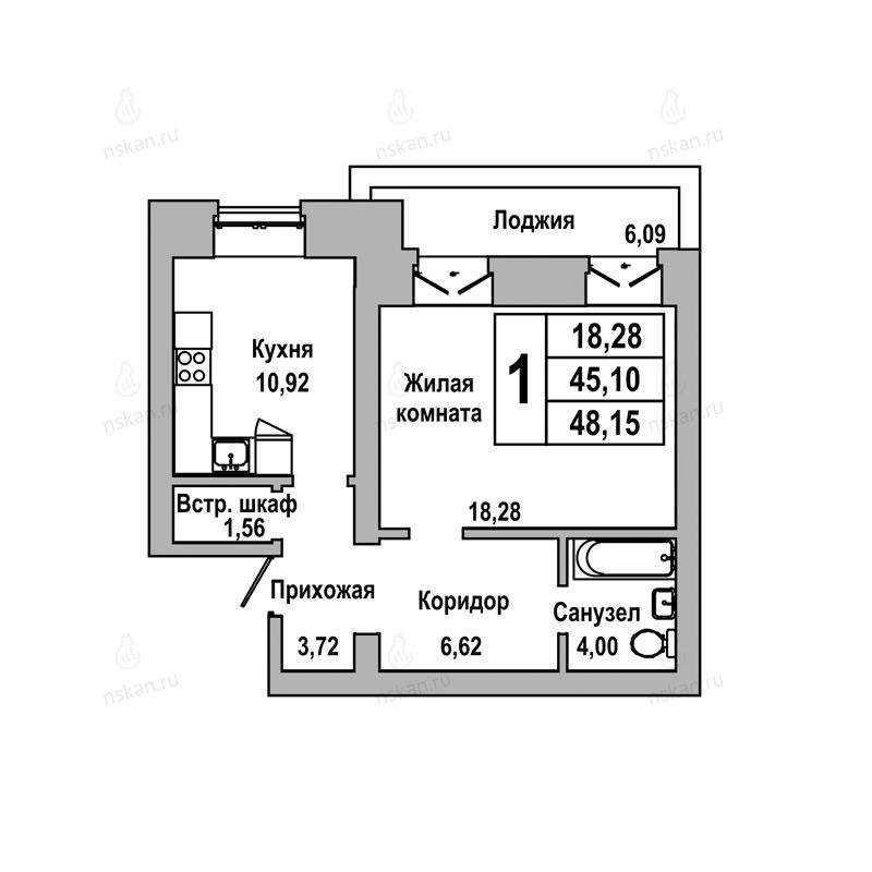 Планировка 1-комнатная площадью 48.15 м<sup>2</sup> в ЖК ГринАрт