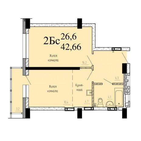 Вариант №6521, 2-комнатная квартира в жилом комплексе