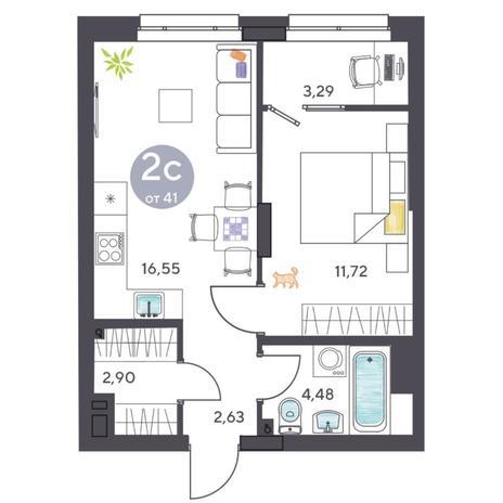 Вариант №5433, 2-комнатная квартира в жилом комплексе Ясный берег