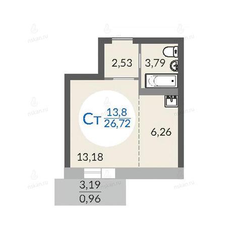 Вариант №1077, 1-комнатная квартира в жилом комплексе Красный проспект 163/6