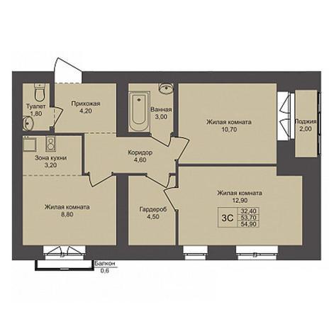 Вариант №3786, 3-комнатная квартира в жилом комплексе Акварельный 3.0