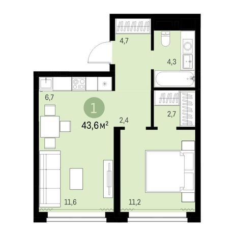 Вариант №6309, 2-комнатная квартира в жилом комплексе