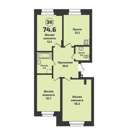 Вариант №6046, 3-комнатная квартира в жилом комплексе