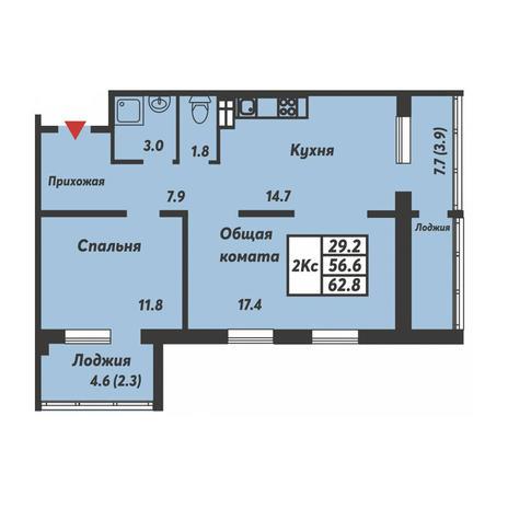 Вариант №3697, 2-комнатная квартира в жилом комплексе