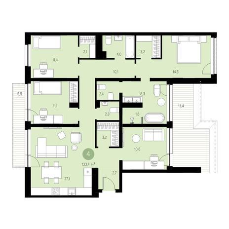 Вариант №4721, 5-комнатная квартира в жилом комплексе