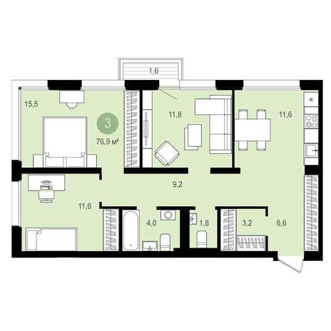 Вариант №4155, 3-комнатная квартира в жилом комплексе Бульварный переулок
