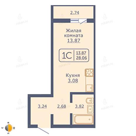 Вариант №2053, 1-комнатная квартира в жилом комплексе
