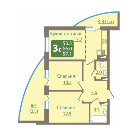 Вариант №3043, 3-комнатная квартира в жилом комплексе