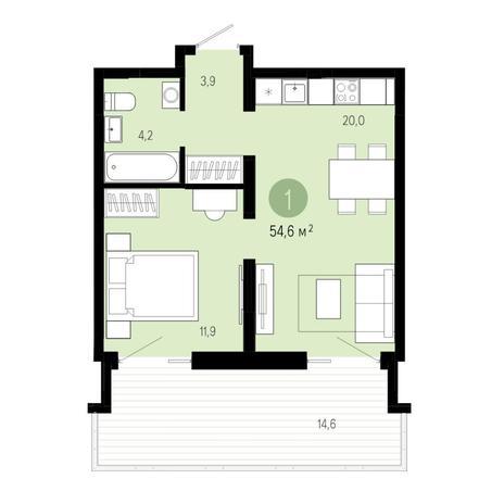 Вариант №4605, 2-комнатная квартира в жилом комплексе Европейский Берег