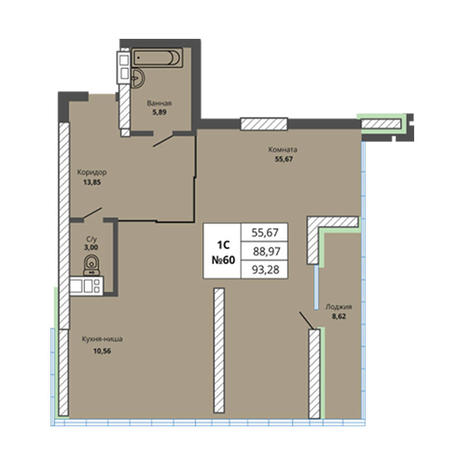 Вариант №2971, 3-комнатная квартира в жилом комплексе