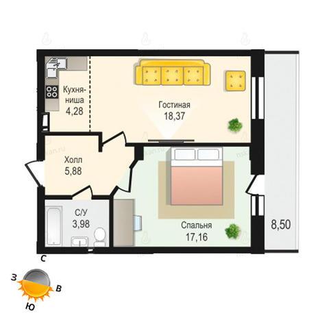 Вариант №1335, 2-комнатная квартира в жилом комплексе Крымский
