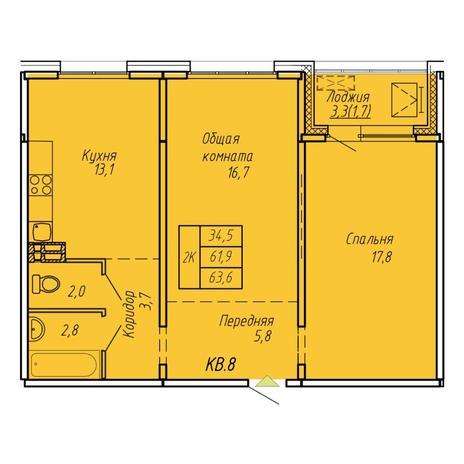 Вариант №6069, 2-комнатная квартира в жилом комплексе