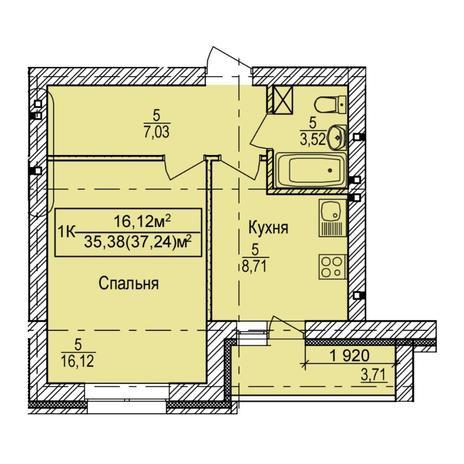 Вариант №5389, 1-комнатная квартира в жилом комплексе