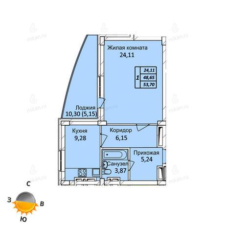 Вариант №718, 1-комнатная квартира в жилом комплексе Тихвинский квартал