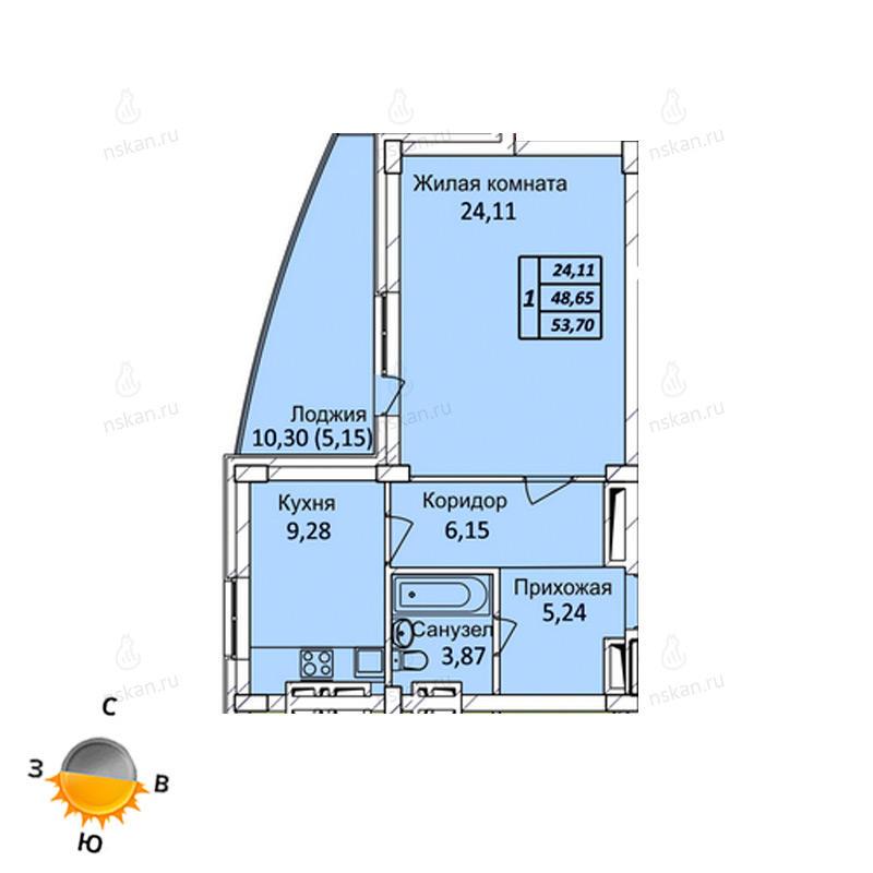 Планировка 1-комнатная площадью 53.7 м<sup>2</sup> в ЖК Тихвинский квартал