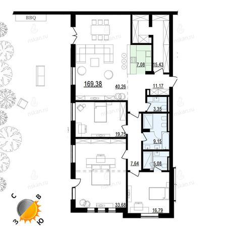Вариант №897, 4-комнатная квартира в жилом комплексе Жуковка
