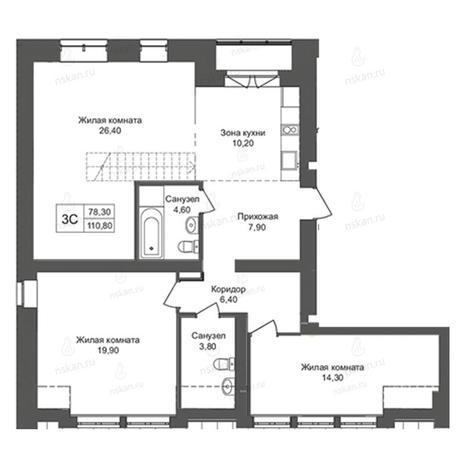 Вариант №2771, 3-комнатная квартира в жилом комплексе Онега