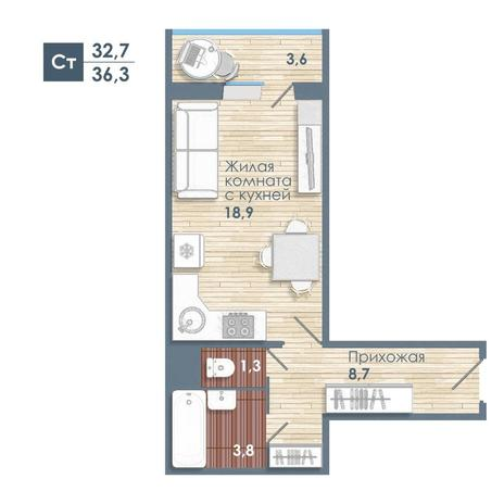 Вариант №5596, 1-комнатная квартира в жилом комплексе
