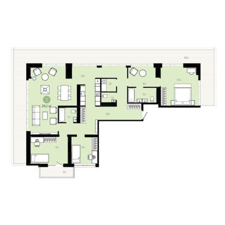 Вариант №5999, 4-комнатная квартира в жилом комплексе