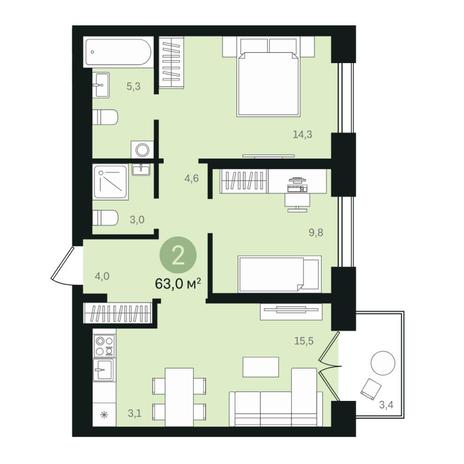 Вариант №6338, 3-комнатная квартира в жилом комплексе