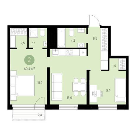 Вариант №4683, 2-комнатная квартира в жилом комплексе Европейский Берег
