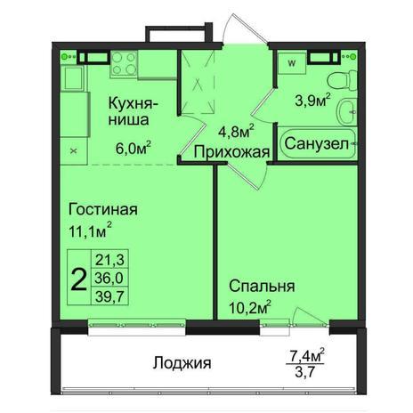 Вариант №5027, 2-комнатная квартира в жилом комплексе