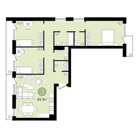 Вариант №3315, 3-комнатная квартира в жилом комплексе
