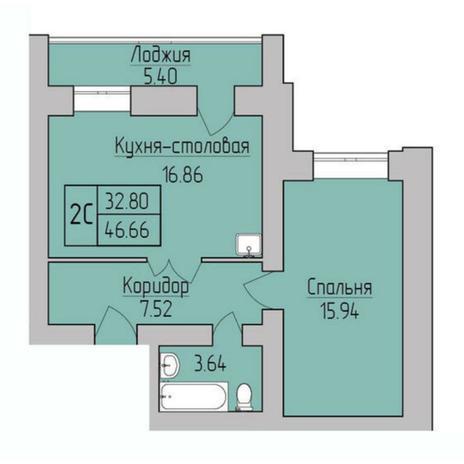 Вариант №5380, 2-комнатная квартира в жилом комплексе