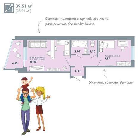 Вариант №2071, 2-комнатная квартира в жилом комплексе Чистая Слобода