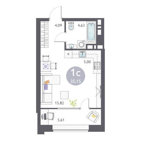Вариант №3353, 1-комнатная квартира в жилом комплексе