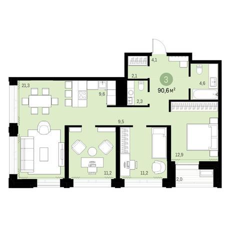 Вариант №6137, 4-комнатная квартира в жилом комплексе