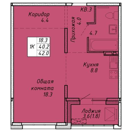 Вариант №6463, 1-комнатная квартира в жилом комплексе