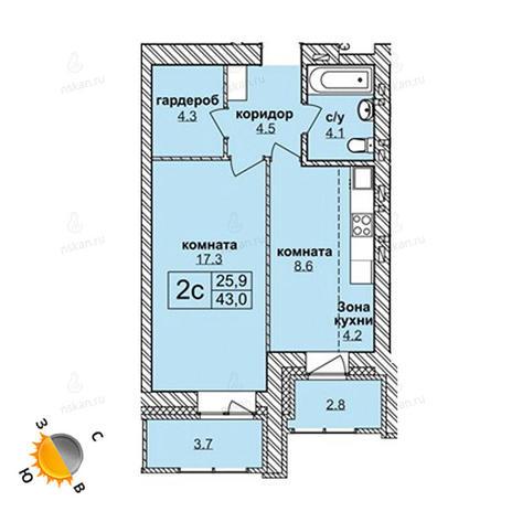Вариант №1587, 2-комнатная квартира в жилом комплексе Северная корона