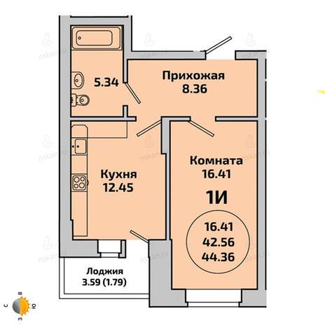 Вариант №1959, 1-комнатная квартира в жилом комплексе Приозерный