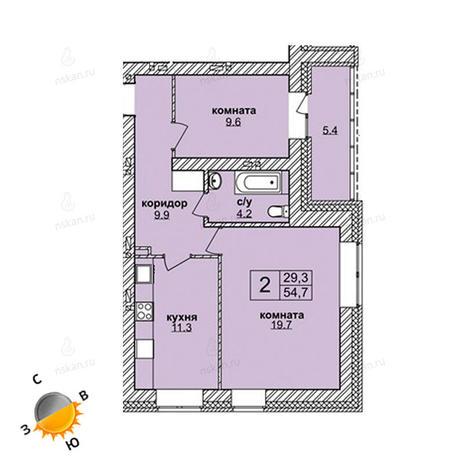Вариант №1591, 2-комнатная квартира в жилом комплексе