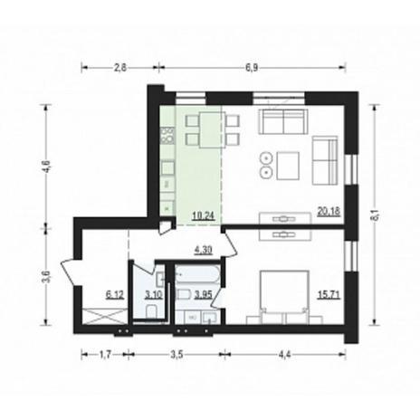 Вариант №4901, 2-комнатная квартира в жилом комплексе Жуковка