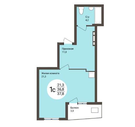 Вариант №4557, 1-комнатная квартира в жилом комплексе Акварельный 3.0